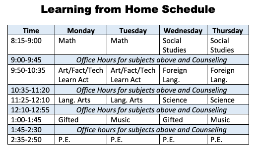 Learning from Home Schedule Time Monday Tuesday Wednesday Thursday 8:15-9:00 Math Math Social Studies Social Studies 9:00-9:45 Office Hours for subjects above and Counseling 9:50-10:35 Art/Fact/Tech Learn Act Art/Fact/Tech Learn Act Foreign Lang. Foreign Lang. 10:35-11:20 Office Hours for subjects above and Counseling 11:25-12:10 Lang. Arts Lang. Arts Science Science 12:10-12:55 Office Hours for subjects above and Counseling 1:00-1:45 Gifted Music Gifted Music 1:45-2:30 Office hours for subjects above and Counseling 2:35-2:50 P.E. P.E. P.E. P.E.