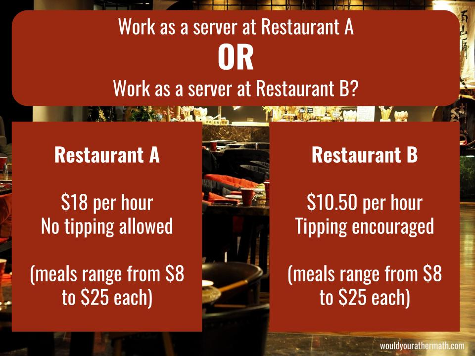 Would you rather serve at a restaurant with 2 different pay scales